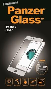 PanzerGlass til iPhone 7, Full Fit, sølv
