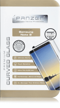 Panzer til Samsung Note 8, Curved Glass, sort