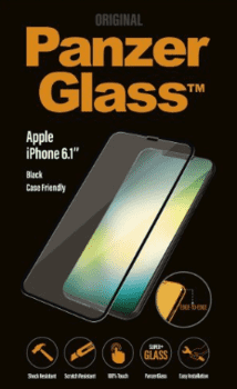 PanzerGlass til iPhone XR, case friendly, sort